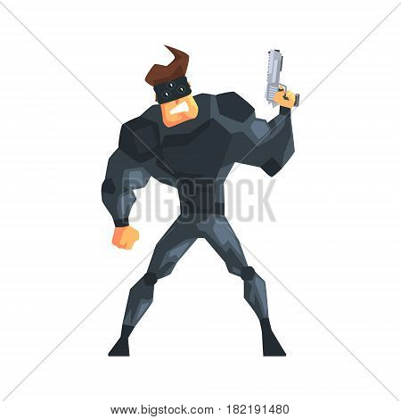 Secret Service Male Agent Taking Cover Undercover. Handsome Muscly Professional Man Asset In Fancy Suit And On Duty. Cartoon Hero Special Force Crime Fighter Character Colorful Vector Illustration.