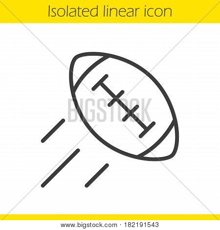American football ball linear icon. Thin line illustration. Flying rugby ball contour symbol. Vector isolated outline drawing