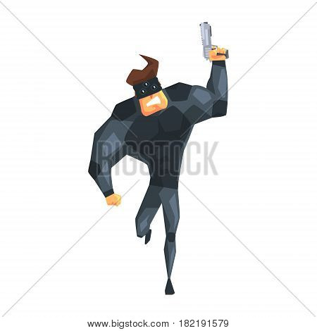 Secret Service Male Agent Running With Gun. Handsome Muscly Professional Man Asset In Fancy Suit And On Duty. Cartoon Hero Special Force Crime Fighter Character Colorful Vector Illustration.