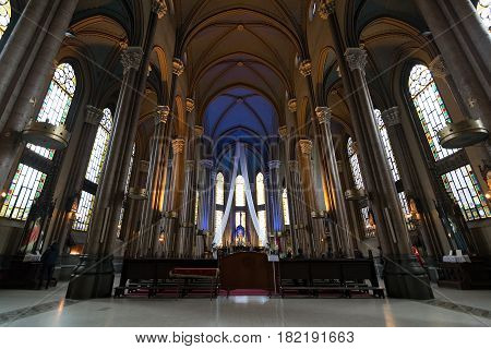 Istanbul, Turkey - April 18, 2017: Interior of St. Anthony of Padua Church, the largest Roman Catholic Church in Istanbul