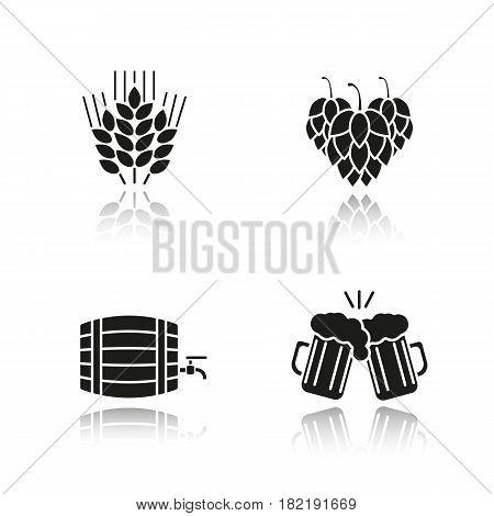 Beer drop shadow black icons set. Hop cones, wheat ears, toasting beer glasses, alcohol wooden barrel. Isolated vector illustrations