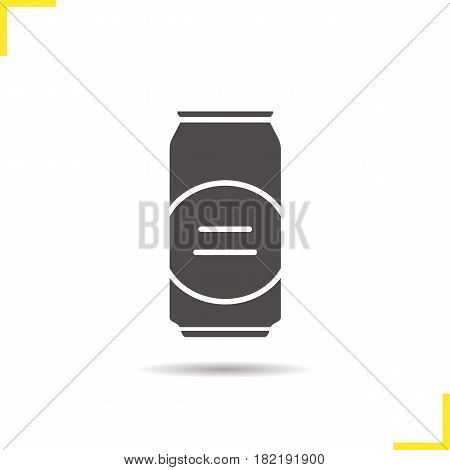 Beer can glyph icon. Drop shadow silhouette symbol. Aluminium can. Negative space. Vector isolated illustration