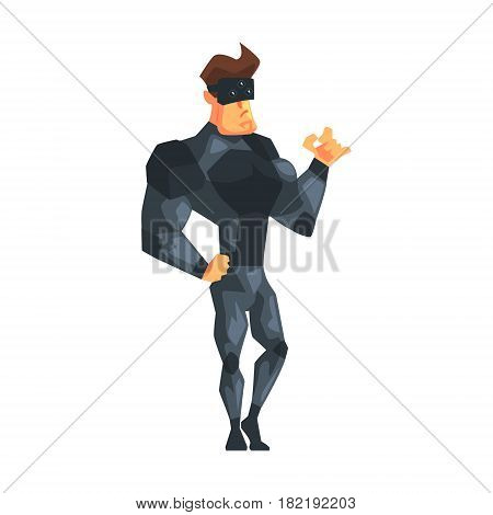 Nonchalant Secret Service Male Agent Undercover. Handsome Muscly Professional Man Asset In Fancy Suit And On Duty. Cartoon Hero Special Force Crime Fighter Character Colorful Vector Illustration.