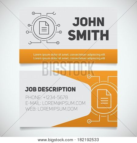 Business card print template with document logo. Programmer. Stationery design concept. Vector illustration