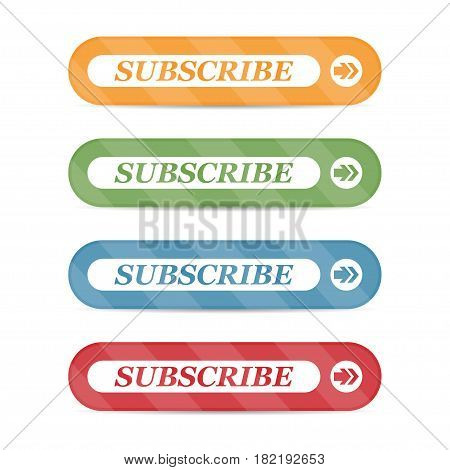 Set of subscribe buttons with shadows on a white background