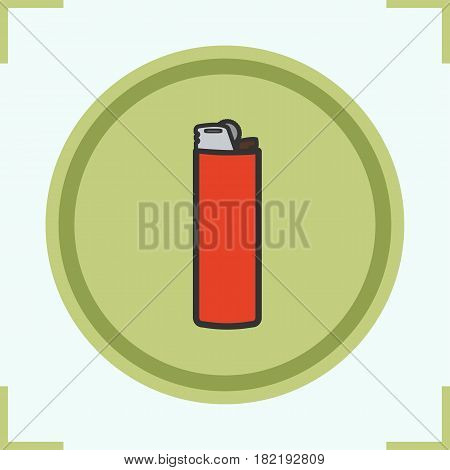 Lighter color icon. Disposable gas lighter. Isolated vector illustration