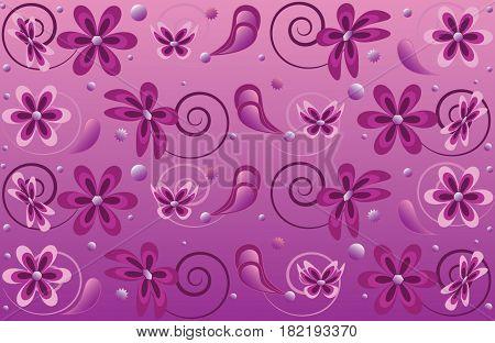 Illustration purple seamless floral pattern illustration background.
