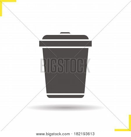 Trashcan icon. Drop shadow silhouette symbol. Dustbin. Trash bin. Negative space. Vector isolated illustration