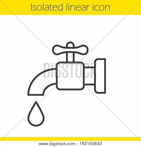 Water faucet linear icon. Tap thin line illustration. Open faucet with water drop contour symbol. Vector isolated outline drawing