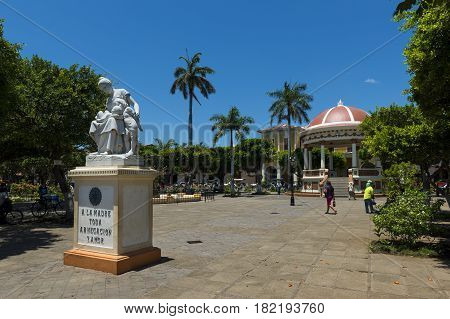 Granada, Nicaragua - April 2, 2014: View of the central square in the colonial city of Granada in Nicaragua, Central America.