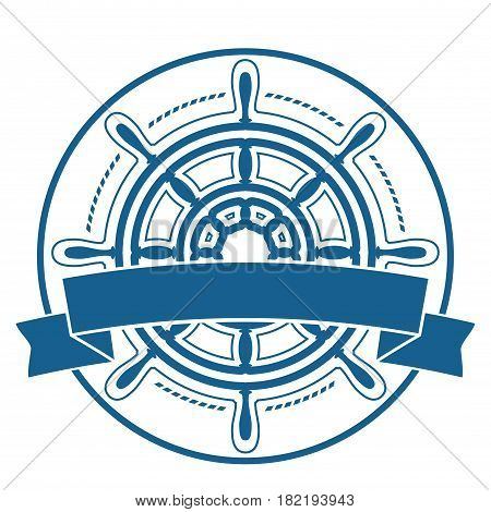 Ship steering wheel corporate emblem with banner isolated on white background. Vector illustration.