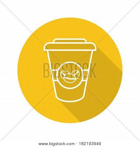 Takeaway coffee cup. Flat linear long shadow icon. Coffee to go. Vector line symbol