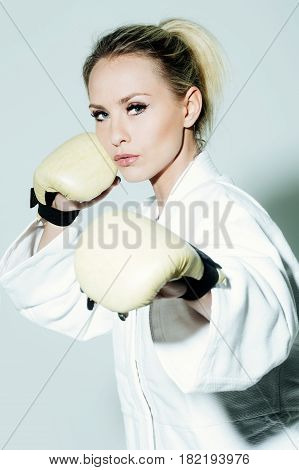 Pretty Sexy Girl Boxer Wearing Boxing Gloves