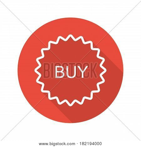 Buy red sticker. Flat linear long shadow icon. Add to basket badge. Vector line symbol