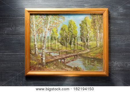 photo picture frame at wooden background texture