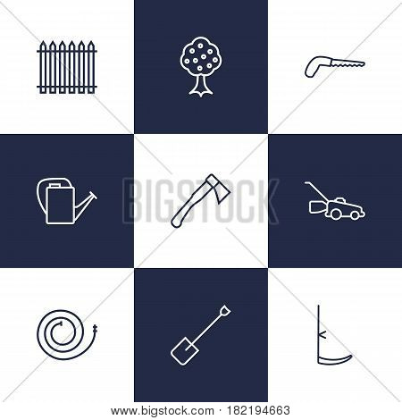 Set Of 9 Horticulture Outline Icons Set.Collection Of Arm-Cutter, Palisade, Scythe And Other Elements.