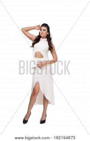 Young attractive elegant fashion lady in stylish dress at studio