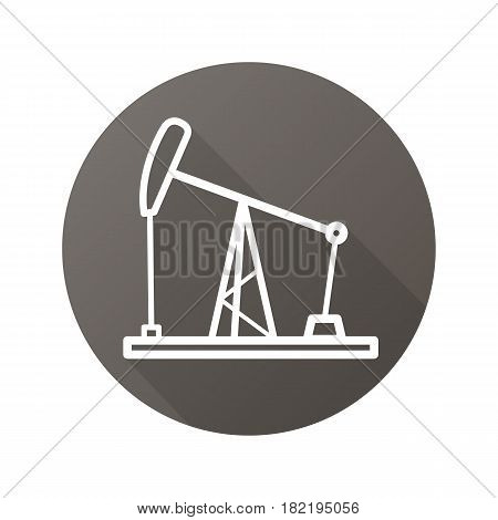 Oil derrick flat linear long shadow icon. Oil pump jack. Vector line symbol