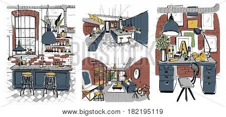 Modern rooms interiors in loft style. Set of hand drawn colorful illustration