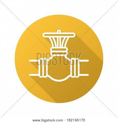 Gas pipe valve flat linear long shadow icon. Vector line symbol