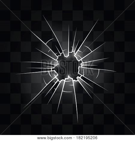 Hole in the glass from the bullet . Vector illustration