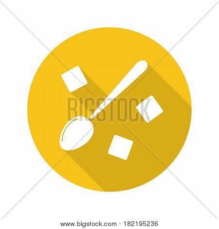Spoon with refined sugar cubes. Flat design long shadow icon. Lump sugar with teaspoon. Vector silhouette symbol