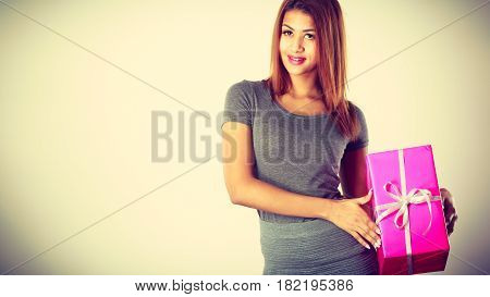 Beautiful Mulatto Woman With Pink Gift.