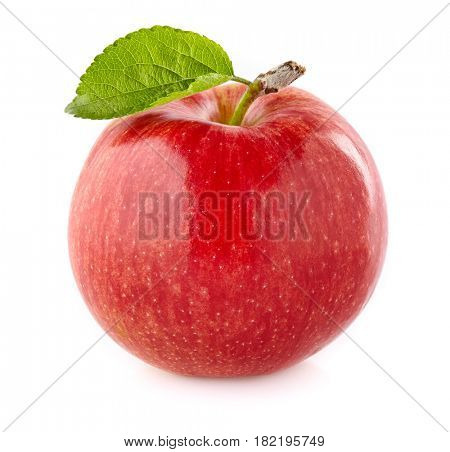 Apple with leaf in closeup