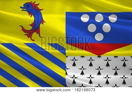 Flag of Drome is a department in southeastern France. 3d illustration