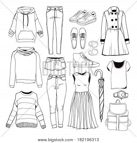 Set of women's sport clothes. Woman clothing set. Vector hand-drown Black and white fashion collection.