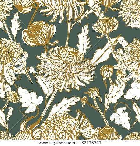 Japanese chrysanthemum hand drawn seamless pattern with buds, flowers, leaves. Vintage style illustration