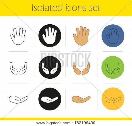 Hand gestures icons set. Linear, black and color styles. Begging and cupped hands, palm. Isolated vector illustrations