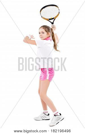 Beautiful girl tennis player isolated on white background