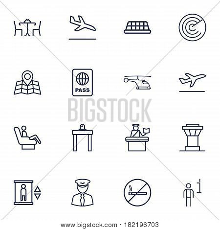 Set Of 16 Aircraft Outline Icons Set.Collection Of Elevator, No Smoking, Pilot And Other Elements.