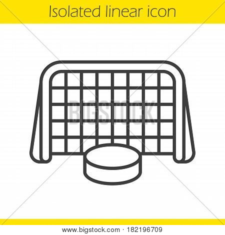 Ice hockey gate and puck linear icon. Thin line illustration. Hockey goal contour symbol. Vector isolated outline drawing