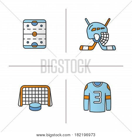 Hockey color icons set. Sticks and helmet, rink, shirt, puck in gates. Isolated vector illustrations