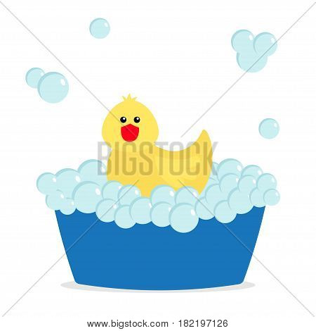 Bubble bath. Yellow rubber duck bird toy. Bathtub with soup bubbles. Cute cartoon baby character. Flat design. White background. Vector illustration