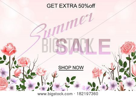 Advertisement about the summer sale on background with beautiful roses blossom, Lettering, calligraphy. A seasonal discount. Vector illustration EPS10
