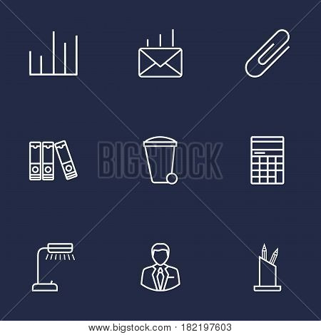 Set Of 9 Bureau Outline Icons Set.Collection Of Fastener Paper, Reading-Lamp, Counter And Other Elements.