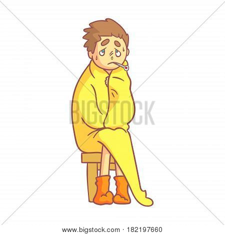Boy caught flu, having high temperature sitting covered with a yellow blanket and holding a thermometer in his mouth. Colorful cartoon character isolated on a white background