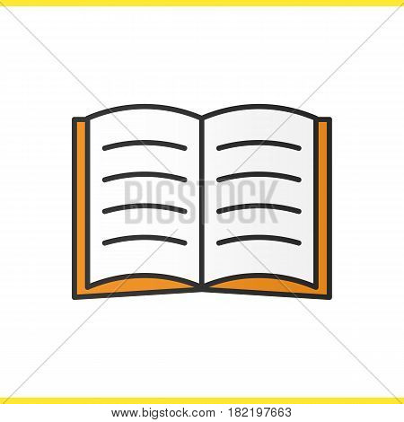 Open book color icon. Open textbook. Reading. Isolated vector illustration
