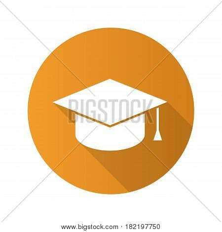 Square academic graduation cap. Flat design long shadow icon. Student's hat. Vector silhouette symbol