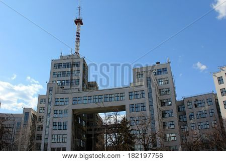 KHARKOV, UKRAINE - APRIL 21, 2011: This is the building of the State Industry built in the style of constructivism of the 30s of the 20th century.