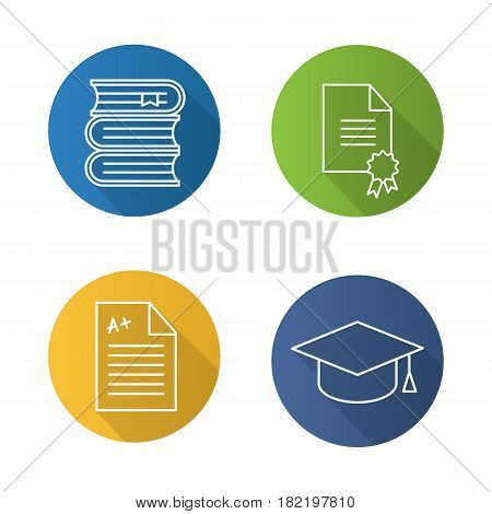 High education flat linear long shadow icons set. Student's graduation hat, diploma, test with excellent mark, books stack. Vector line illustration
