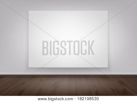 Vector Empty Blank White Mock Up Poster Picture Frame on Wall with Brown Wooden Floor Front View