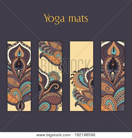 Set of yoga pilates meditation mats with indian hand drawn floral ornament