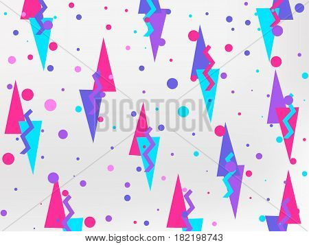 Background With A Flat Geometric Design Memphis In The Style Of 80's. Elements Of Style Bauhaus. Vec