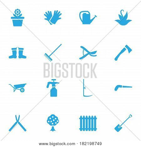 Set Of 16 Farm Icons Set.Collection Of Wheelbarrow, Plant, Shovel And Other Elements.