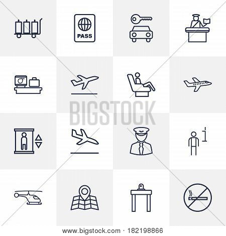 Set Of 16 Airplane Outline Icons Set.Collection Of Luggage Trolley, Helicopter, Airport Security And Other Elements.