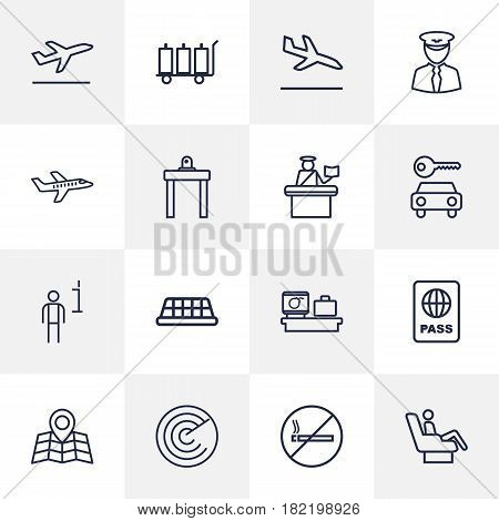 Set Of 16 Land Outline Icons Set.Collection Of Passport Controller, Certification, Sit And Other Elements.